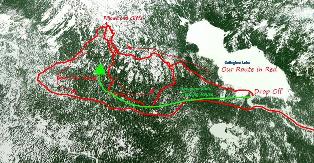 The red lines are our tracks, the green line is the way we'll climb up next time. Our initial climbing track LOOKED fine on maps but the 1:20k TRIM lines don't show the up-down meandering complexity of the ridgeline towards Hidden Peak and the several cliff, pillowbands and ridges that we had to navigate. Take the left/S side of the ridge. Trust me its way less of a ballache.