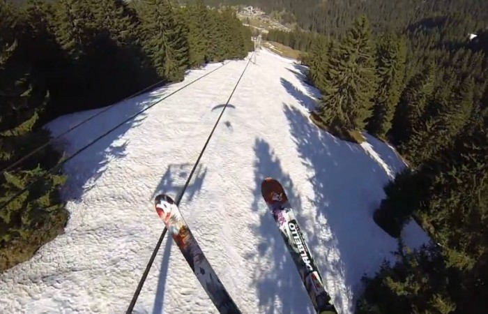 Insane Footage of Speedflyer Grinding a Chairlift Cable!