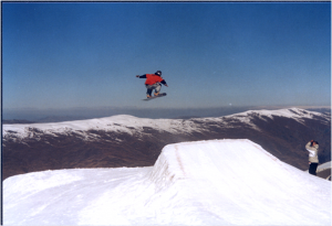 holly training for a big air competition prior to commencing her research in 2004