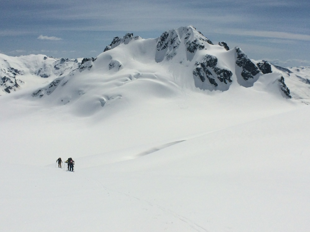 Heading up the Diavolo Glacier with Cheakamus Mtn in the background. Photo by Joe Schwartz.
