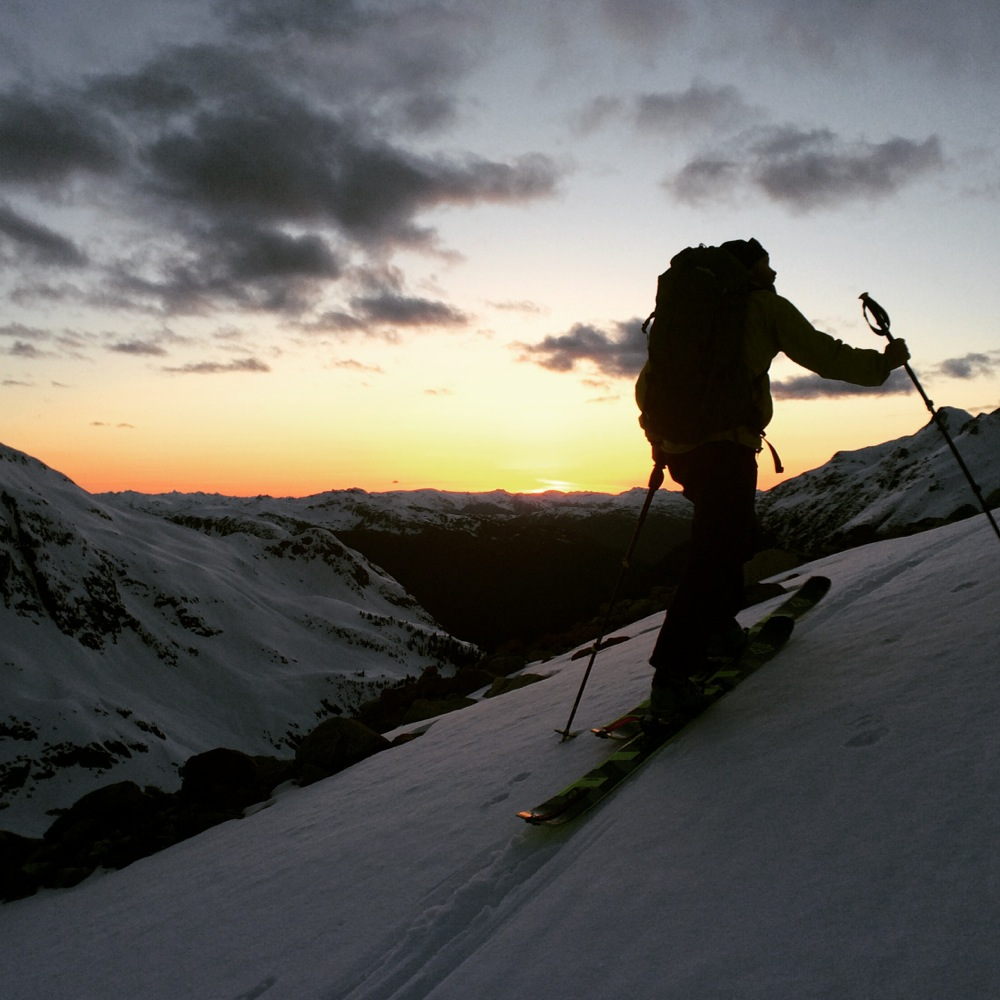 Andre Charland heading back to the Macbeth hut site. Photo by Joe Schwartz.