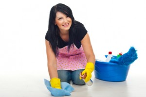 Cleaning floors maid