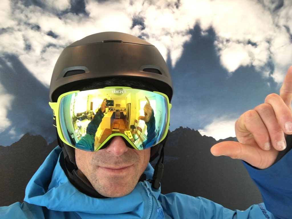 Turns out I didn't take enough selfies on my last few ski trips, so these clever photos from my kitchen will have to do. You'd never know it's indoors with all those rad peaks in the background. Oh wait, where is there a kitchen in the lens reflection?
