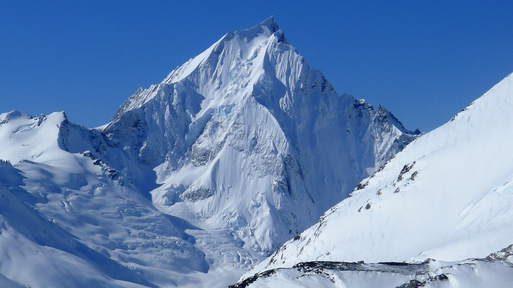 The first glimpse of our main objective, Ambition mountain.