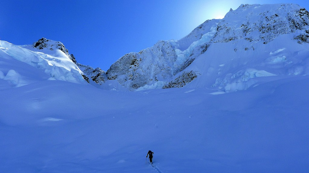 Simon approaching the icefall