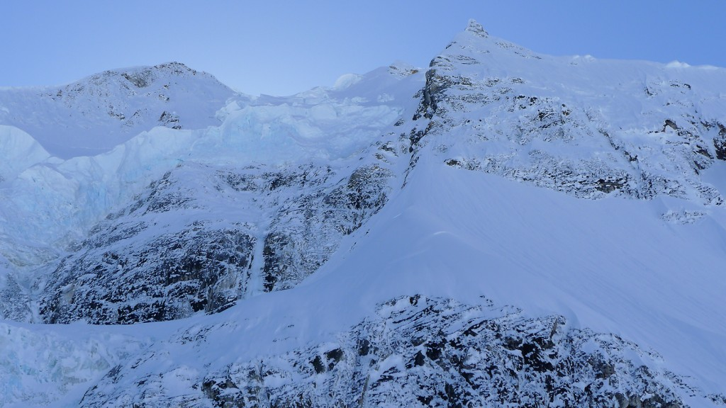 View of the hidden couloir and the crux