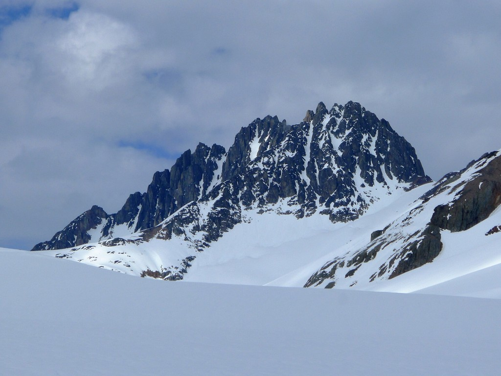 Few of the many options of great couloir skiing in corn condition.