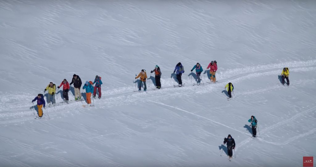 Party on the skin track. Screen grab from the film.