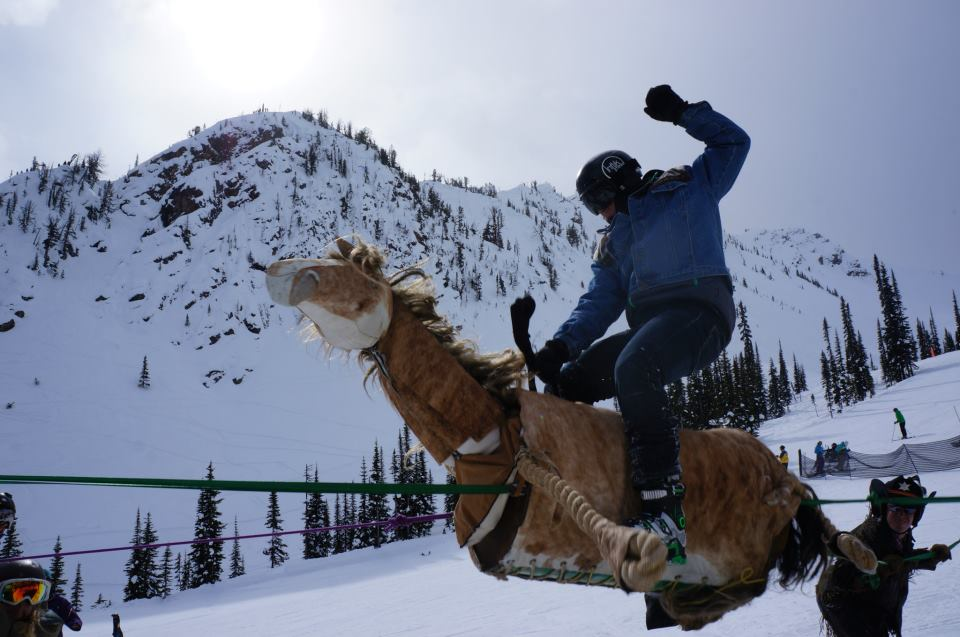 Mandatory bull ride at the bottom. Why? Because skiing is silly.
