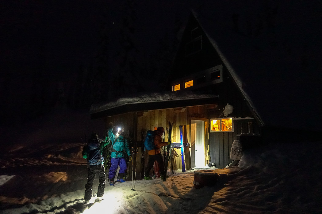 Coming home, skiing pillow after dark. A silly ritual. Photo: Anthony Bonello