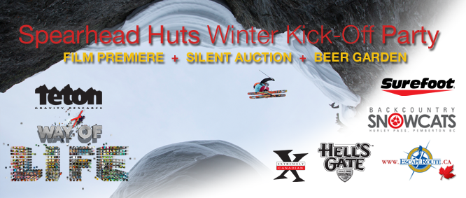 Spearhead Huts Fundraiser – TGR 'Way of Life' Premiere – Squamish – Sat Oct 26